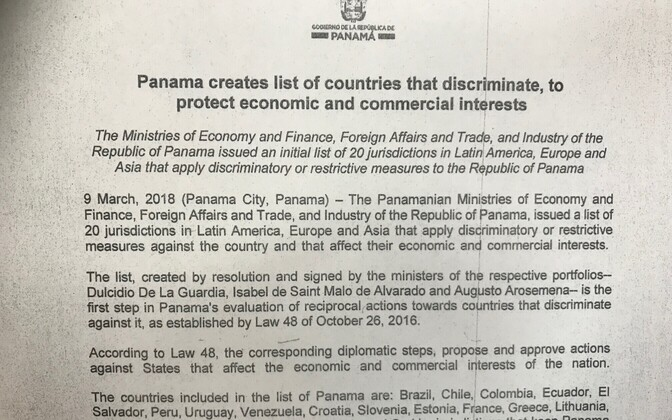 The statement by the Panamanian embassy in Poland was sent to ERR News on Mar. 13, 2018.