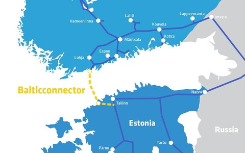 Route of the Balticconnector pipeline with other pipelines in the area.