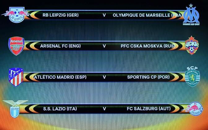 Результаты жеребьевки 1/4 финала Лиги Европы УЕФА.
