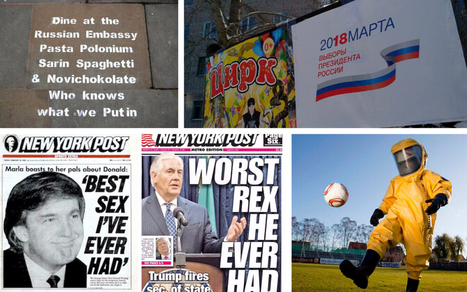Loosung Londonis Vene saatkonna juures, valimiste infoplakat Omskis, New York Post aastast 1990 ja 2018 ning sotsiaalmeedias leviv pilapilt Inglismaa vutikoondise selle suve riietusest.