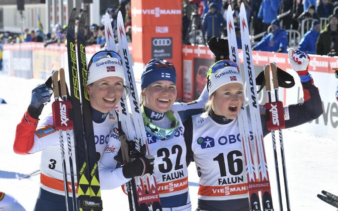 Faluni MK-etapi võidukas esikolmik: Björgen, Pärmäkoski ja Östberg.