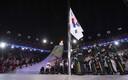 Korraldajamaa Lõuna-Korea lipu langetamine.