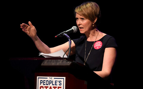 Cynthia Nixon kampaaniaüritusel Manhattanil.