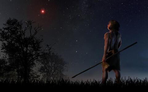 Päikesesüsteemi lähedalt möödunud täht kunstniku nägemuses.