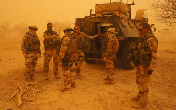 French troops in a dust storm in Mali.