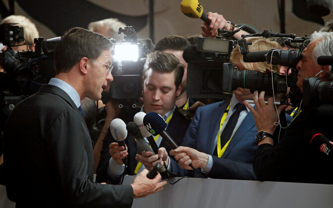 Dutch Prime Minister Mark Rutte talking to journalists in Brussels. Rutte has recently intensified the Netherlands' efforts to find partners in the EU for its own economic agenda.