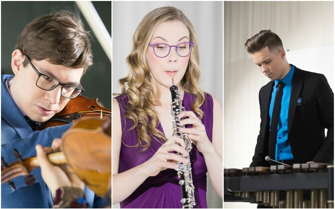 Ingely Laiv (oboe), Tanel-Eiko Novikov (löökpillid) ja Johannes Põlda (viiul)