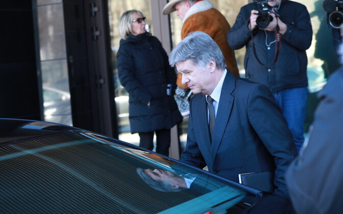 Russian ambassador Aleksandr Petrov leaving the Ministry of Foreign Affairs.