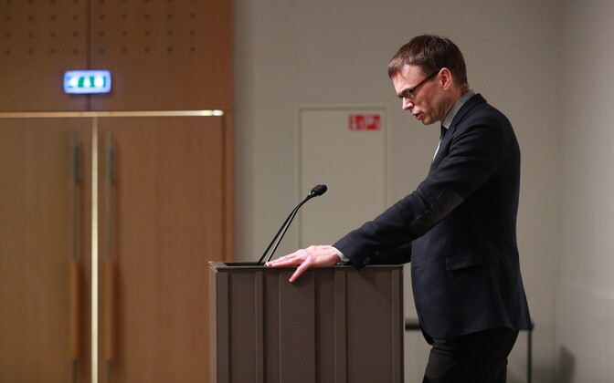 Minister of Foreign Affairs Sven Mikser (SDE) giving a press conference on Monday afternoon. March 26, 2018.