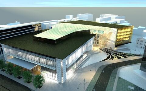 HG Arhitektuuri projekteeritud kavand postimaja ja kinohoone kompleksist