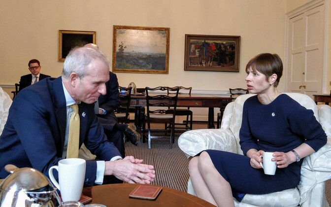 British Minister for the Cabinet Office David Lidington with President Kersti Kaljulaid in London on Tuesday. March 27, 2018.