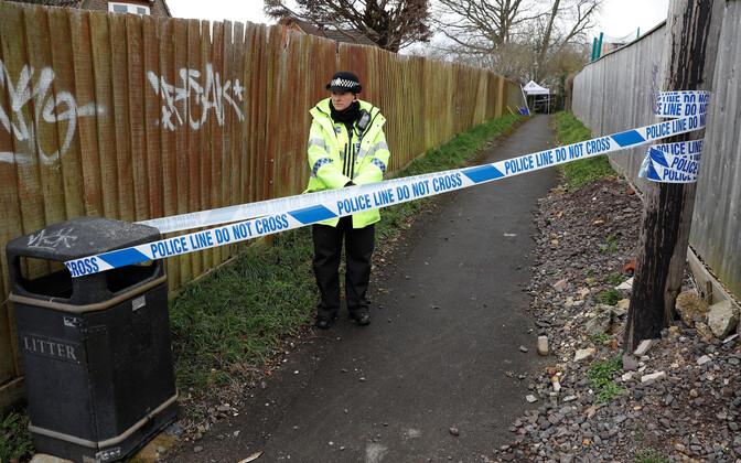 Politsei Salisburys Sergei Skripali kodu lähistel.