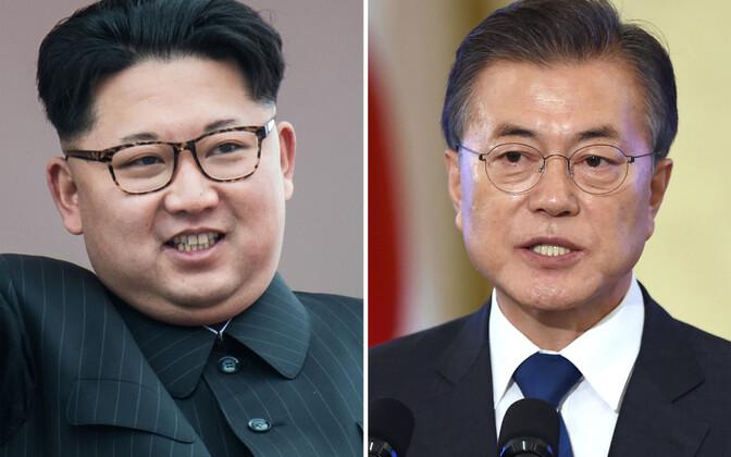 Põhja-Korea liider Kim Jong-un (vasakul) ja Lõuna-Korea president Moon Jae-in.