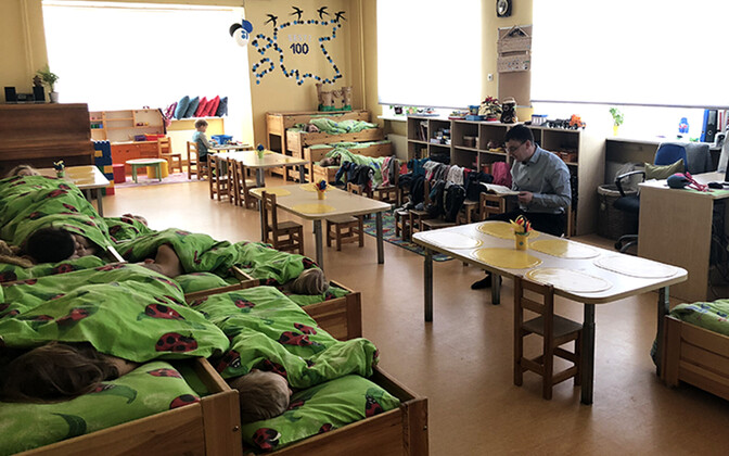Naptime at Tihase Kindergarten in Tallinn's Kristiine District.