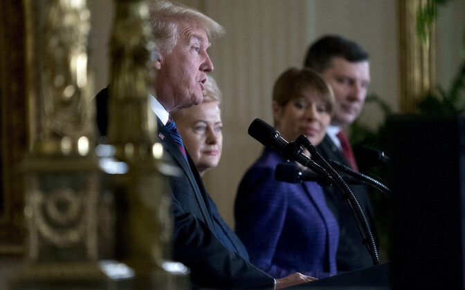 Presidents Donald Trump, Dalia Grybauskaitė, Kersti Kaljulaid, and Raimonds Vējonis in Washington, Apr. 3, 2018.