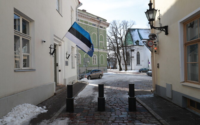 Retractable safety bollards already installed on a street on Toompea Hill in Tallinn.