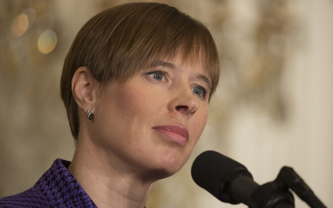 President Kersti Kaljulaid speaking at the Baltic Summit press conference at the White House on Tuesday. April 3, 2018.
