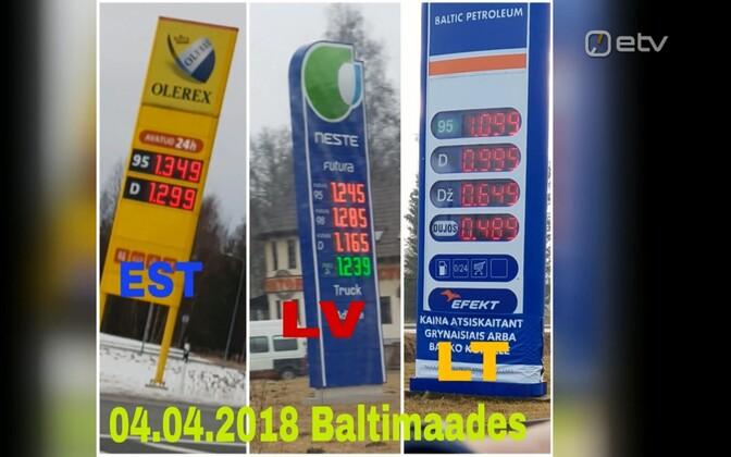 Цены на топливо в Эстонии, Латвии и Литве 4 апреля