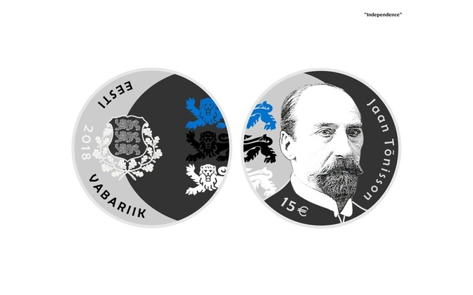 Commemorative coin minted to mark the 150th anniversary of Jaan Tõnisson's birth and featuring his image.