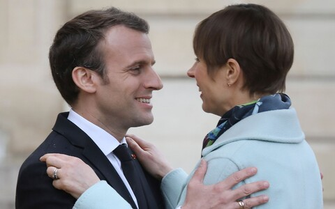 President Kersti Kaljulaid met with French President Emmanuel Macron on Monday. April 9, 2018.