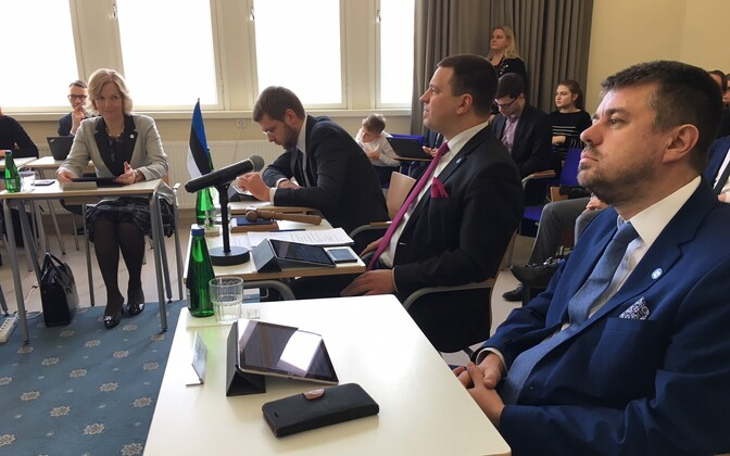 The Estonian government holding its Thursday meeting in Viljandi. April 12, 2018.