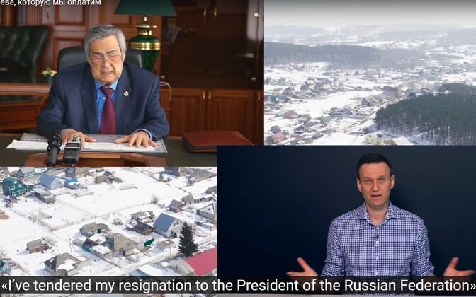 Kemerovo ekskuberner Aman Tulejev opositsioonipoliitik Aleksei Navalnõi fookuses.