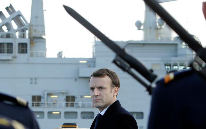 Prantsusmaa president Emmanuel Macron Touloni mereväebaasis 2018. aasta jaanuaris.