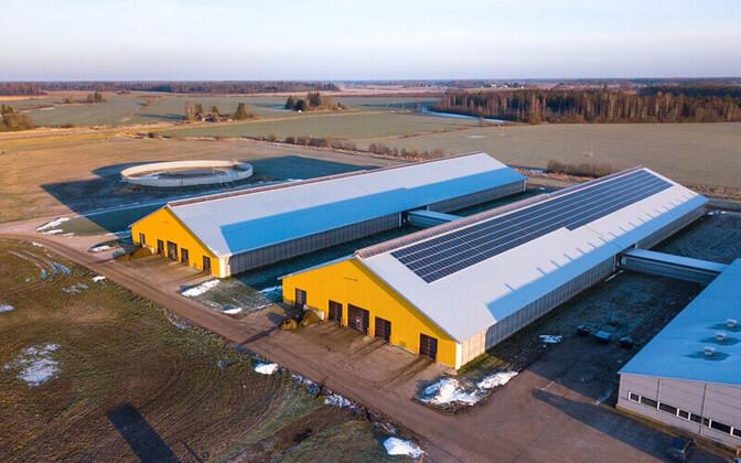 Päikeseelektrijaam Estonia piimafarmi katusel