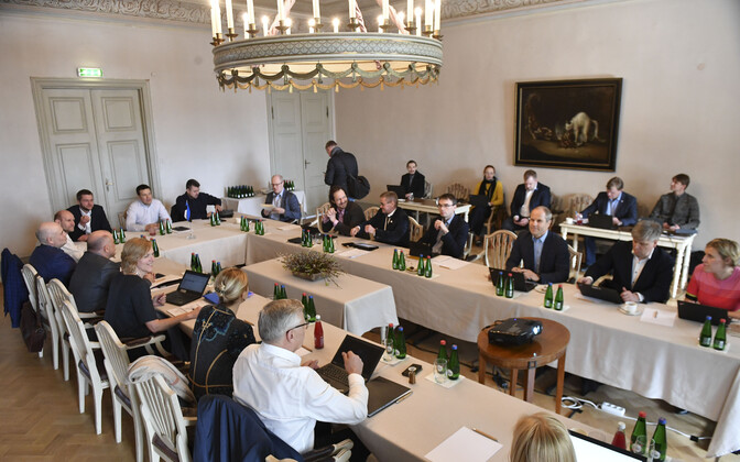 Estonian government discussing the state budget strategy at Sagadi Manor on Thursday. April 12, 2018.