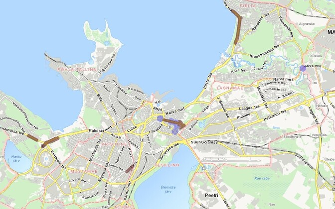 Kaart alanud ja algavate olulise mõjuga teetöödest Tallinna operatiivinfo lehel.