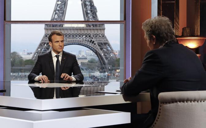 President Emmanuel Macron ja BFM-i ajakirjanik Jean-Jacques Bourdin.