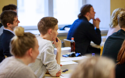 Students from three Tallinn high schools taking a state exam at Gustav Adolf High School. 2018.