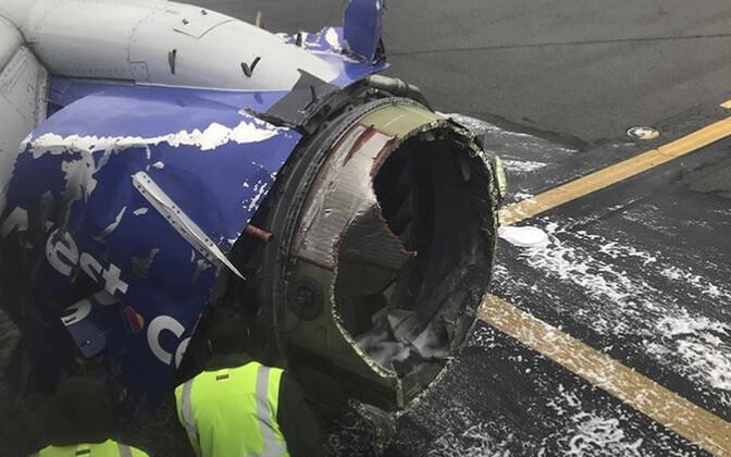 Southwest Airlines'i lennuki purunenud mootor.