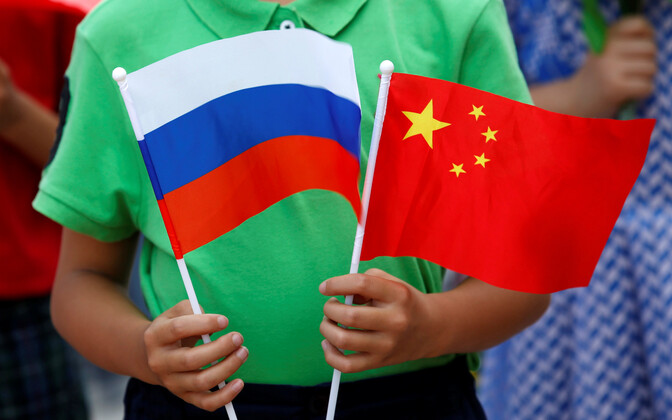 Venemaa ja Hiina lipp.
