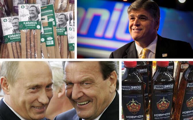 Gérard Depardieu' kabanoss (twitter.com/olacicho); Fox Newsi saatejuht Sean Hannity (Reuters); Putin ja Schröder 2005. aastal (Reuters) ja toiduõli Novitšok (Igor Lebedew/@mr_sheriff).