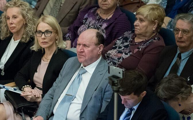 EKRE kongress, paremalt Martin Helme, Mart Helme ja Helle-Moonika Helme