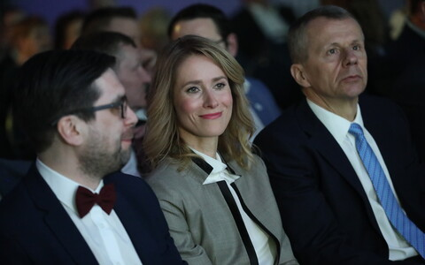 Reform Party Chairwoman Kaja Kallas flanked by Kert Valdaru and Jürgen Ligi. April 14, 2018.