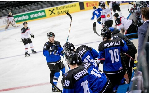 Eesti jäähokikoondis MM-turniiril Kaunases.