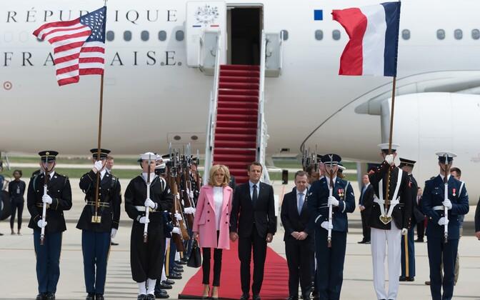 Prantsusmaa president Emmanuel Macron saabus Washingtoni.