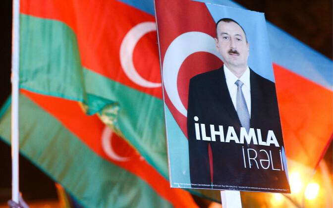 Plakatil Aserbaidžaani president Ilham Alijev.