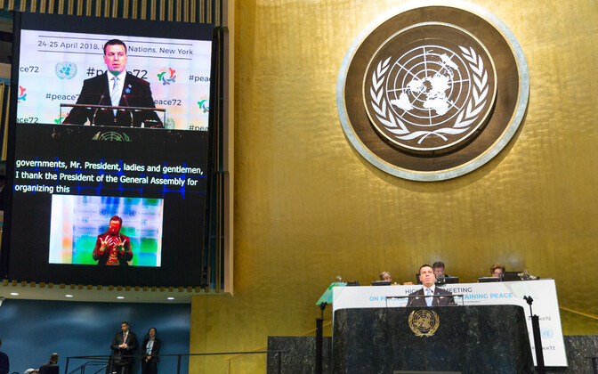 Prime Minister Jüri Ratas (Center) addressing the UN. April 24, 2018.