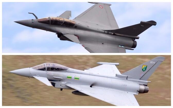 Prantsuse õhuväe Dassault Rafale B (üleval) ja Briti õhuväe Eurofighter EF-2000 Typhoon F2.