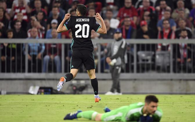 Marco Asensio võiduväravat tähistamas.