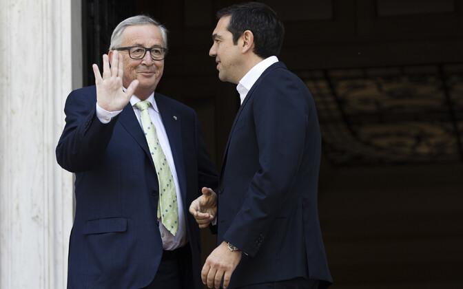 Euroopa Komisjoni president Jean-Claude Juncker ja Kreeka peaminister Alexis Tsipras 26. aprillil Ateenas.