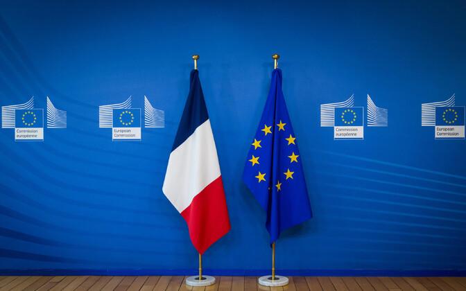 Prantsusmaa ja Euroopa Liidu lipp.