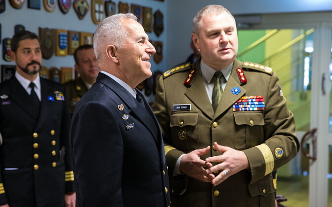 Adm. Evangelos Apostolakis and Gen. Riho Terras in Estonia on Friday. April 27, 2018.