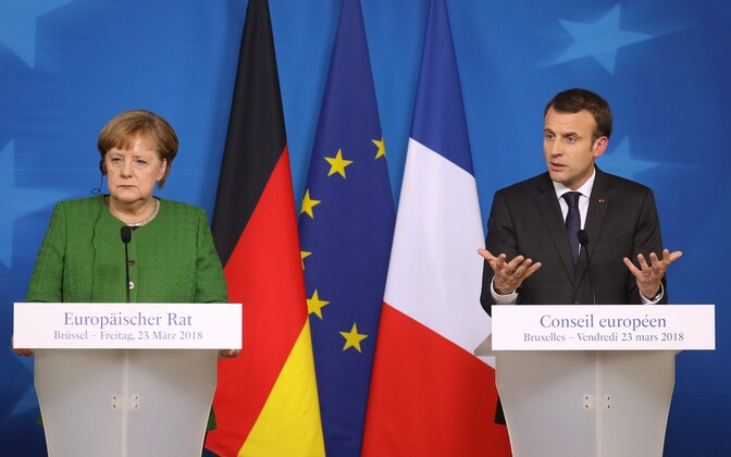 Saksa kantsler Angela Merkel ja Prantsusmaa president Emmanuel Macron tänavu märtsis.