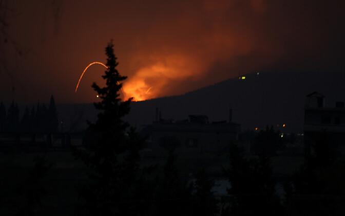 Plahvatused Hama linna lähistel 29. aprilli õhtul.