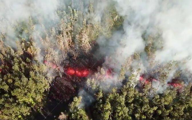 Kilauea vulkaanist pärinev laava maastikul