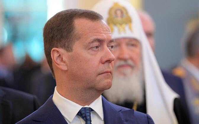 Dmitri Medvedev Vladimir Putini ametisse vannutamise tseremoonial.